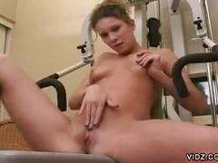 Young bitch gets hot while working out then plays sweet pussy