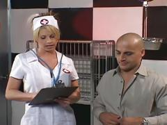 Naughty blonde nurse gets both holes fucked by patient
