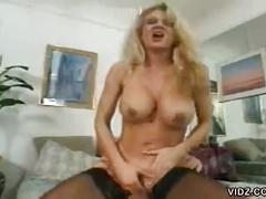 Busty blonde blows and gets pussy pounded