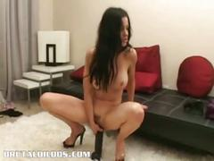 Brunette milf nina cardova uses huge dildo to masturbate