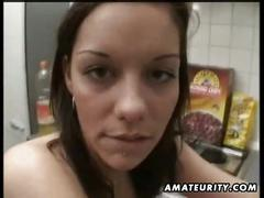 Horny amateur girlfriend drilled hard in the kitchen