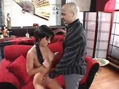 Horny brunette whore gets her pussy filled