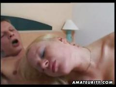 Amateur slut gobbles cock and gets fucked