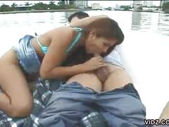 Luscious whore pampers cock in the boat