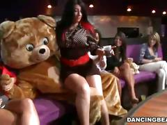 Horny male stripper getting hard cock sucked by many bitches