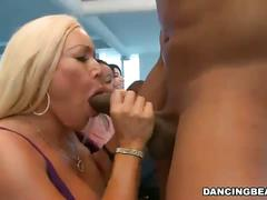 Crazy bitches sucking hard cock at a horny party