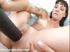 Hot emo babe fucks brutal dildo