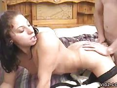 Brunette bitch moans as hubby shoves dick deed down wet pussy