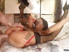 Amateur young brunette in fishnets drilled hard on her holes