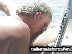 Trailer trash orgy on a friends boat in public!
