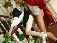 Sweet brunette maid gets nasty in hardcore pussy fuck shenanigans