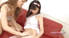 Young asian girl kissing spitting licking each other...