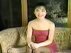 Flexible asian in stockings sucks cock