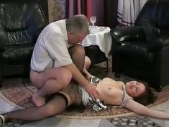 Naughty brunette babe turns into slut as she rides daddy's cock