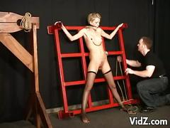 Bdsm blonde in stockings hot bondage