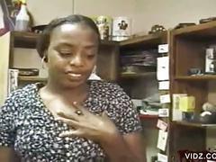 Ebony secretary tyra butts sucks boss's cock at work