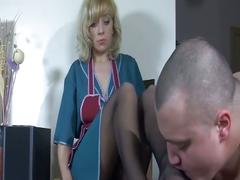 Blonde maid in stockings foot licked and fucked