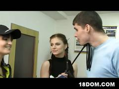Femdom teens at driving school whipping