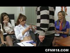 Anatomy teacher fucks horny schoolgirls in hot group fuck action