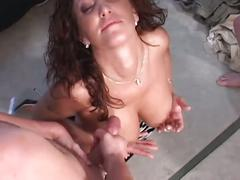 Sultry brunette bombshell enjoying two big cocks in hot threesome