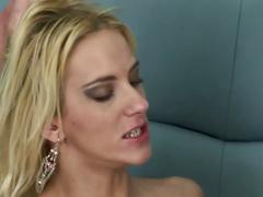 Hot blonde sucks and fucks with facial