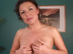 Sultry amateur brunette hustler strips and plays sweet pussy solo