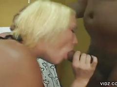 Blonde dezeray loves to suck on big black dick