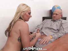Busty blonde jennifer white gives dirty harry a blowjob