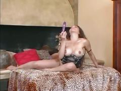Big tits brunette slut in stockings strips and plays pussy in solo