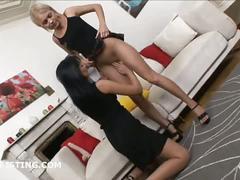 Wet lesbian pussy fisting