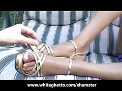 Ebony teen footjob in the back yard