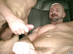 Lustful amateur stud pounding queer anal hole first time in car