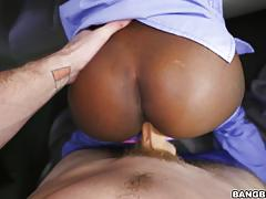 Black beauty getting slammed on the bangbus