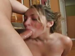 Blonde babe gives a really great deep throat blowjob
