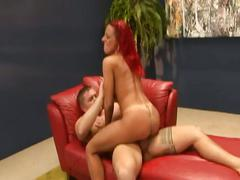 Massive tit redhead milf fucked hardcore by younger dude