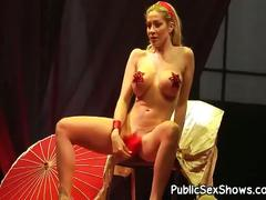 Sexy blonde stripper exposes goodies