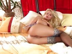 masturbation, babe, big tits, blonde, solo, pussy, stockings,