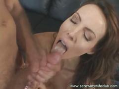 Brunette mrs. liddey cuckolds husband as he watches