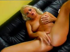 Hot busty blonde fingers and toys her holes