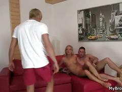 He finds her fucking his brother's cock