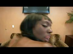 Busty ebony puts on a show and then goes for white cock
