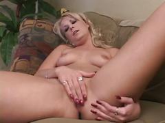 Hot blonde milf fingering her own pussy