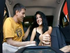 Hot cutie fucked on a private car