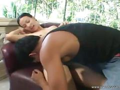 Brunette asian girl sucks his cock and gets nailed