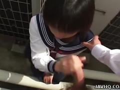 Rino sayaka jerks him off in the bathroom