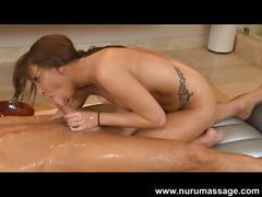 Busty brunette pressley carter gives massage and blowjob