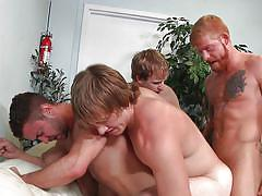 Four hot gay men in a sausage fest