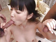 Tsuna sucking two horny cocks
