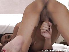 Sexy ladyboys have a cum race to see who can spurt first