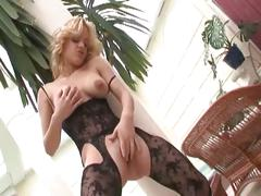 Big boobed blonde milf fucking in body stockings and black panties